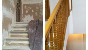 Antes y después de mantenimiento de zonas comunes en comunidad de vecinos