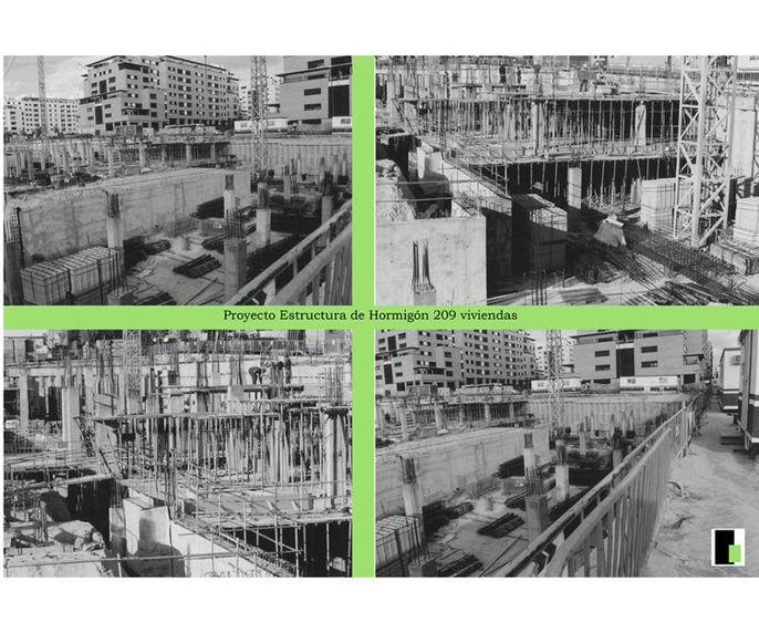 Proyectos de estructura de hormigón de 209 viviendas