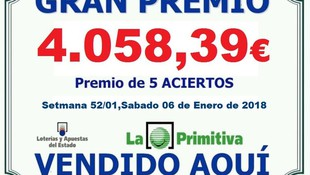 PREMIO PRIMITIVA 06/01/2018
