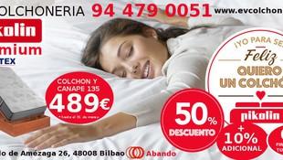 Colchones y somieres en EV Colchonería: conjunto canapé y colchón 135 por 489 €