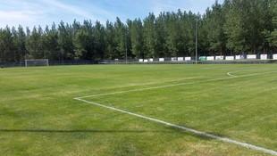 Siembra y mantenimiento de césped en campo de fútbol