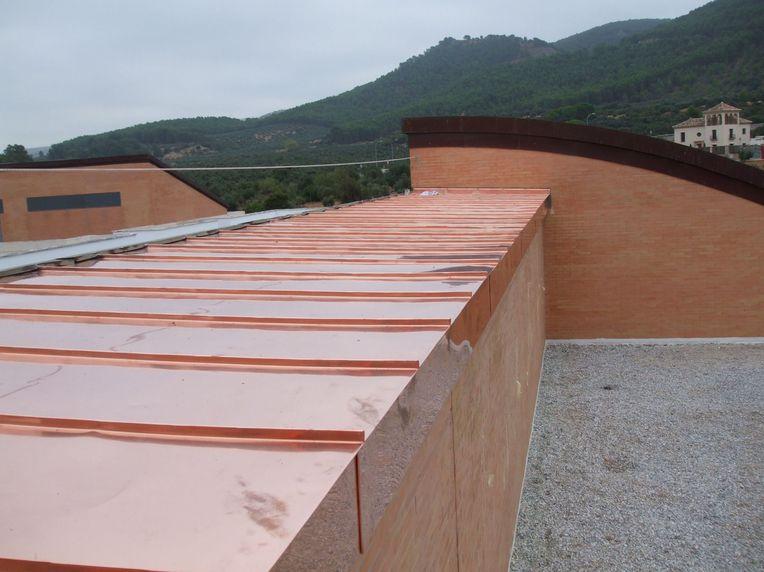 cubierta cobre junta alzada terminada