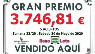 Premio de 5 Aciertos en la Bonoloto del Sabado 30 de Mayo del 2020