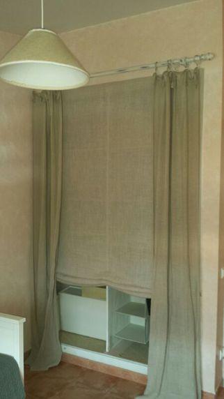 Estor coordinado con cortina con lazos