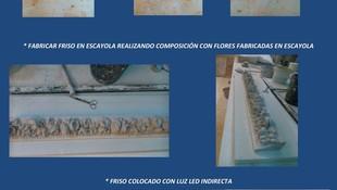 MODELAR EN ARCILLA FLORES, FABRICAR DICHAS FLORES EN ESCAYOLA, REALIZAR COMPOSICIÓN PARA FABRICAR MOLDE EN SILICONA DE FRISO, FABRICAR METROS LINEALES DE DICHO FRISO EN ESCAYOLA Y COLOCAR EN TECHO CON LUZ INDIRECTA