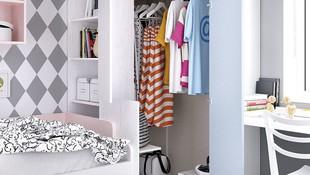 Solución armario rincón-vestidor gran apertura con librería