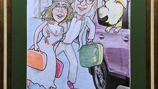 Caricatura novios, Caricatura pareja, Caricatura pareja con coche y perro, Caricatura boda