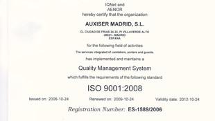 Auxiser, certificación ISO 9001