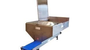 Cinta Transportadora Inox  PVC Alimentario BLUE con tolva/contenedor incorporado