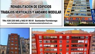 Rehabilitación de fachadas con trabajos verticales y andamio modular en Santander.