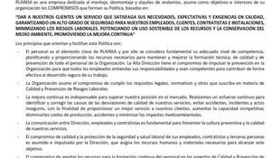POLITICA DE CALIDAD Y PREVENCIÓN PLAINSA