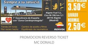 Promoción MC Donald - Estación de servicio Repsol Algete Fuel