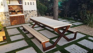 Banco merendero-metal+madera